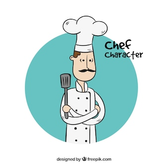 Hand-drawn cook with crossed arms