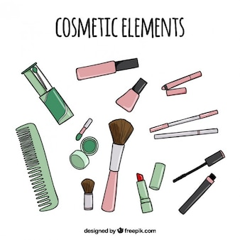Hand drawn cosmetic elements