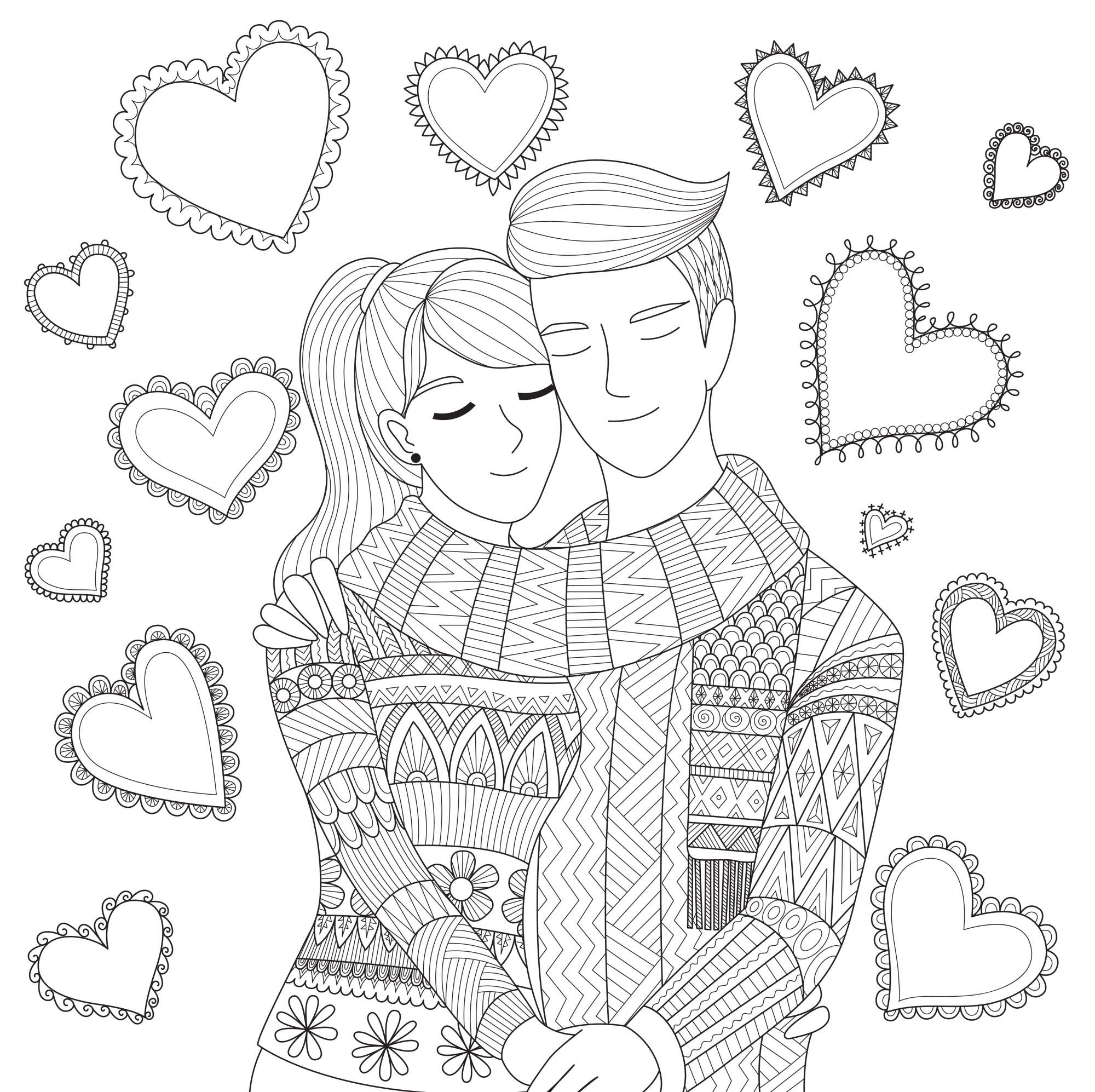 Hand drawn couple background