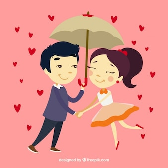 Hand drawn couple in love with umbrella
