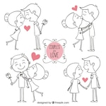 Hand drawn couples in love