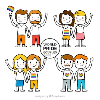 Hand drawn couples with gay pride flag
