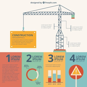 Hand drawn crane of building infography