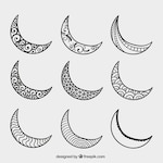 Hand drawn crescent moons