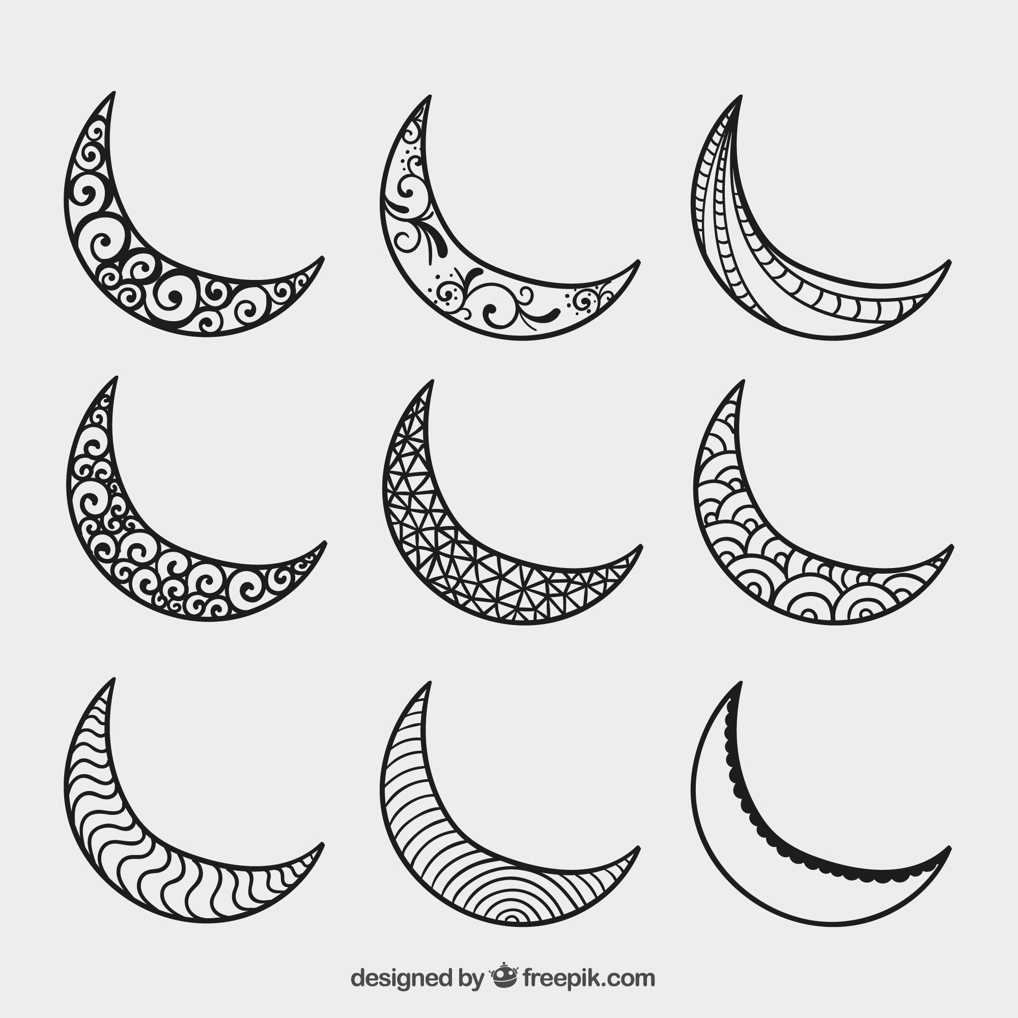Hand drawn crescent moons
