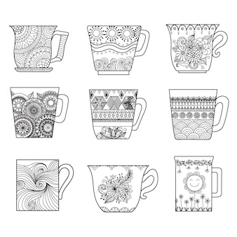 Hand drawn cup collection