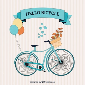 Hand drawn cute bicycle with balloons background