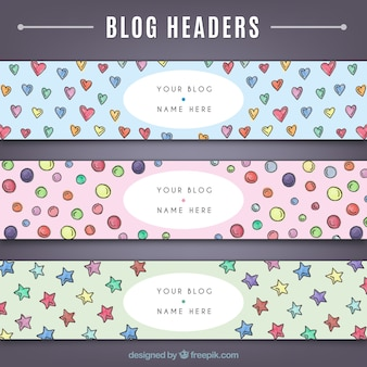 Hand drawn cute blog headers set