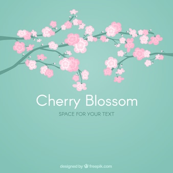 Hand drawn cute branches with cherry blossom background