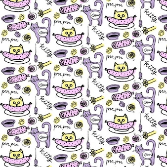 Hand drawn cute cat pattern