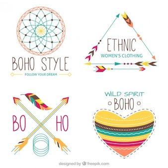 Hand drawn cute colored boho elements
