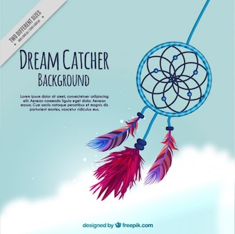 Hand drawn cute dream catcher background