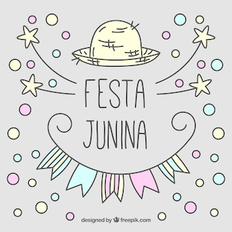 Hand drawn cute festa junina background with circles and stars