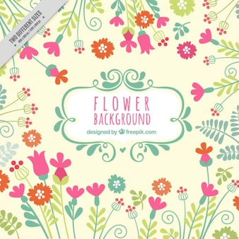 Hand drawn cute floral background