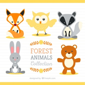 Hand drawn cute forest animals pack