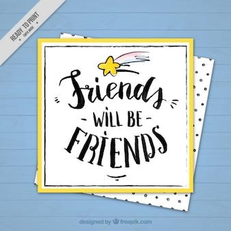 Hand drawn cute friendship day card