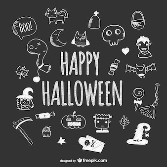 Hand drawn cute icons of halloween on blackboard