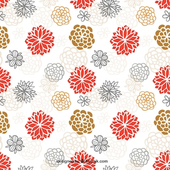 Hand drawn cute japanese flowers pattern