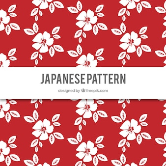 Hand drawn cute japanese flowers red pattern