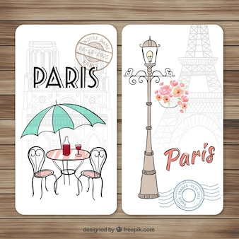 Hand drawn cute Paris cards