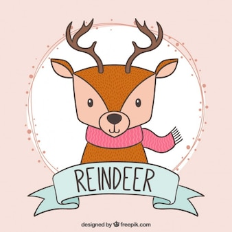 Hand drawn cute reindeer with a pink scarf