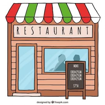 Hand drawn cute restaurant