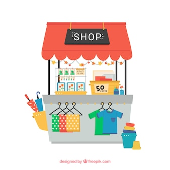 Hand drawn cute shop