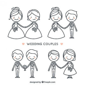Hand drawn cute wedding couple collection