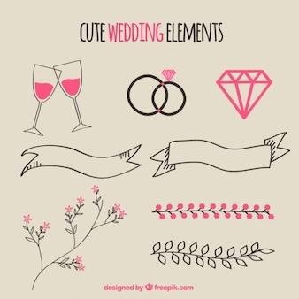 Hand drawn cute wedding elements