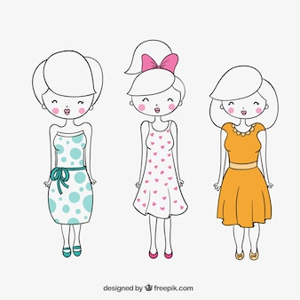 hand drawn cute women