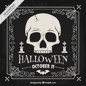 Hand drawn dark background of halloween skull