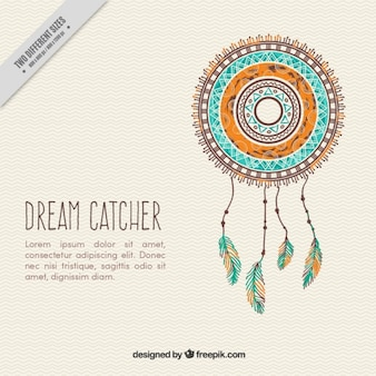 Hand drawn decorative dream catcher background