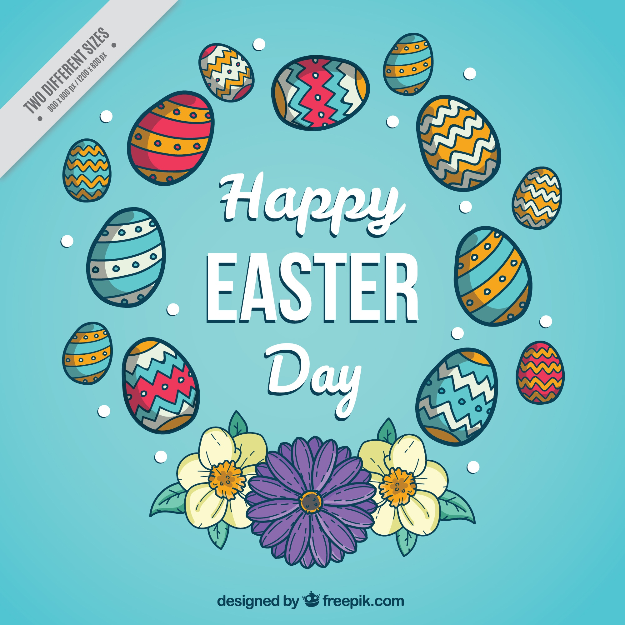 Hand drawn decorative easter egg background