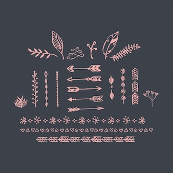Hand drawn decorative elements collection