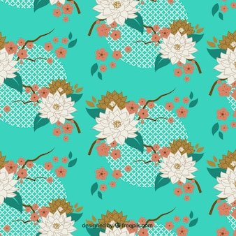 Hand drawn decorative flowers background in viintage style
