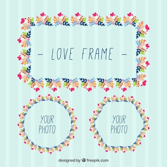 Hand drawn decorative frames with leaves and hearts