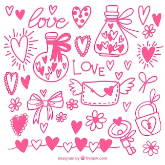 Hand-drawn decorative items ready for valentine's day
