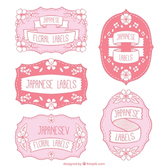 Hand drawn decorative japanese floral labels