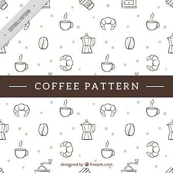 Hand drawn decorative pattern with food and coffee