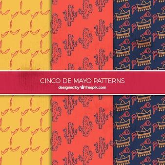 Hand drawn decorative patterns of cinco de mayo