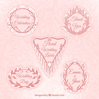 Hand drawn decorative pink wedding labels