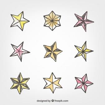 Hand drawn decorative stars