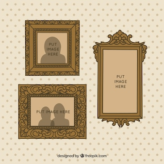 Hand drawn decorative vintage frames on the wall