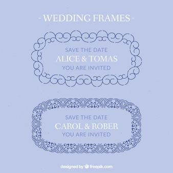 Hand drawn decorative wedding frames