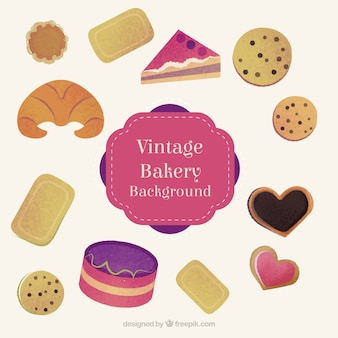 Hand drawn delicious bakery products and cookies with cakes