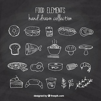 Hand drawn delicious foodstuffs