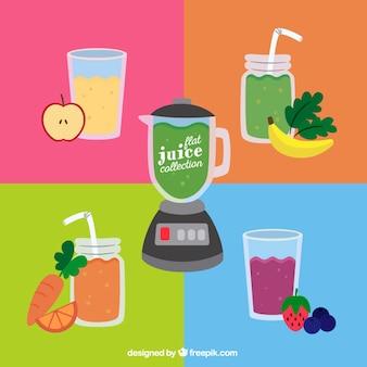 Hand drawn delicious healthy juices