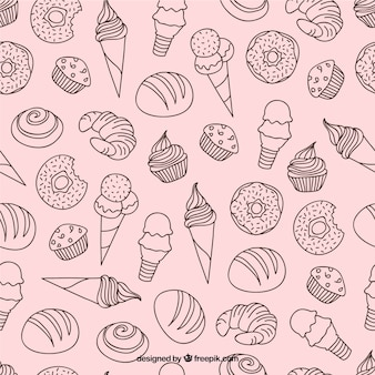 Hand drawn desserts and ice-creams pattern