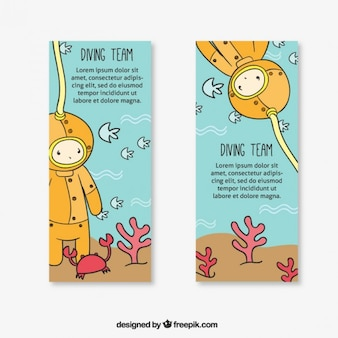Hand drawn diver with seaweeds banners