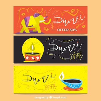 Hand drawn Diwali banners